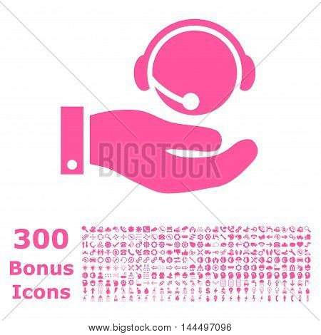 Call Center Service icon with 300 bonus icons. Vector illustration style is flat iconic symbols, pink color, white background.
