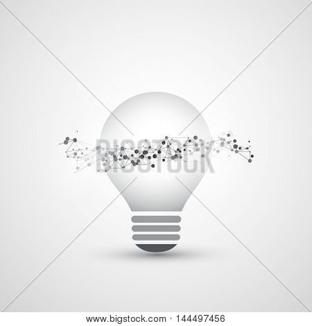 Abstract Cloud Computing and Global Network Connections Concept Design with Light Bulb, Transparent Geometric Mesh, Wireframe Wave - Illustration in Editable Vector Format