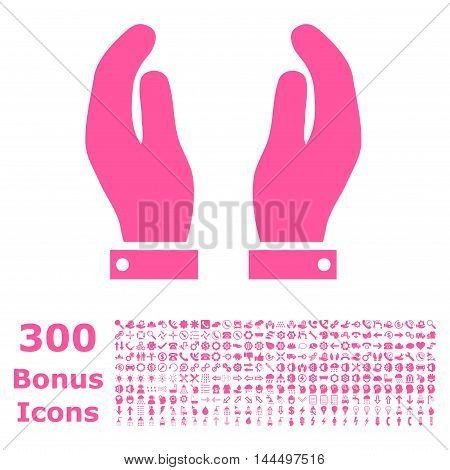 Care Hands icon with 300 bonus icons. Vector illustration style is flat iconic symbols, pink color, white background.