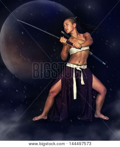 Young flexible girl in the image of the Japanese warrior sword on a mystical background. The picture is drawn with digital painting.