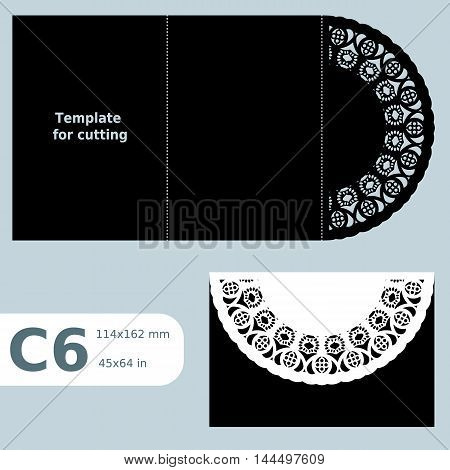 C6 paper openwork greeting card template for cutting lace invitation card with fold lines object isolated background laser cut template vector illustration