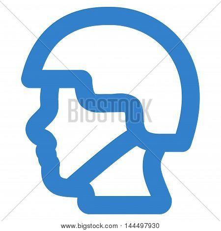 Soldier Head vector icon. Style is linear flat icon symbol, cobalt color, white background.
