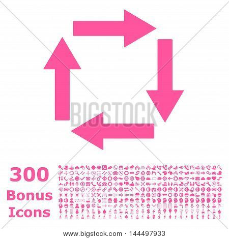 Circulation Arrows icon with 300 bonus icons. Vector illustration style is flat iconic symbols, pink color, white background.