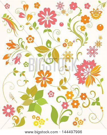 Collection of summer flowers and leaves , Hand drawn Vector