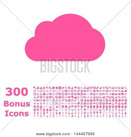 Cloud icon with 300 bonus icons. Vector illustration style is flat iconic symbols, pink color, white background.