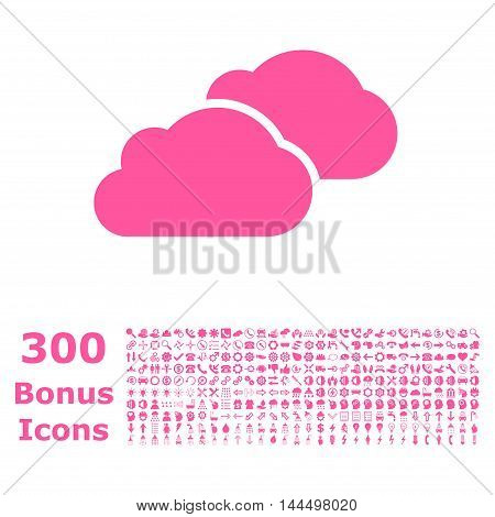 Clouds icon with 300 bonus icons. Vector illustration style is flat iconic symbols, pink color, white background.
