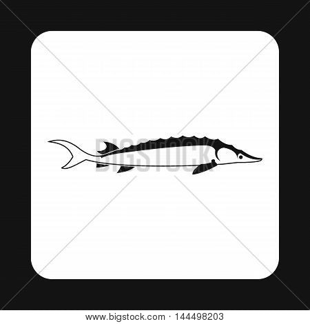 Stellate fish icon in simple style isolated on white background. Inhabitants aquatic environment symbol