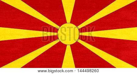 Illustration of the flag of Macedonia with a grunge texture