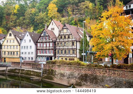 Autumn embankment of Nagold river in Calw, old German city landscape