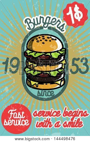 Fast food banner vector illustration. Burger, hot dog, sandwich and other. Food collection.