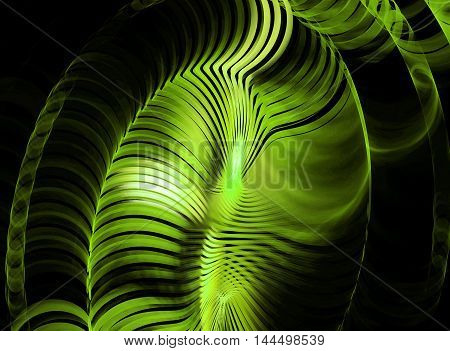 Abstract beautiful green fractal on black background