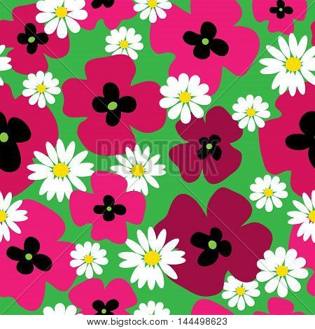 Seamless pattern with a poppies and daisies on a green background