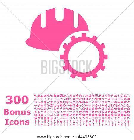 Development Hardhat icon with 300 bonus icons. Vector illustration style is flat iconic symbols, pink color, white background.