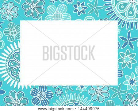Light blue floral decorative frame. Vector creative concept.
