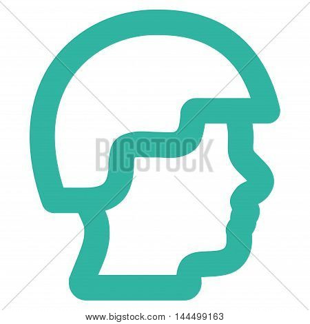 Soldier Head vector icon. Style is stroke flat icon symbol, cyan color, white background.