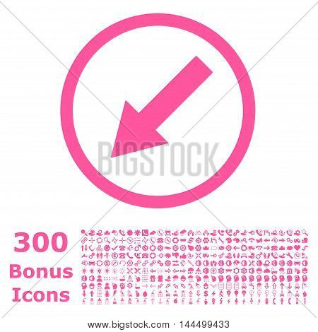 Down-Left Rounded Arrow icon with 300 bonus icons. Vector illustration style is flat iconic symbols, pink color, white background.