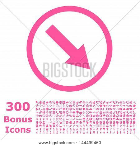 Down-Right Rounded Arrow icon with 300 bonus icons. Vector illustration style is flat iconic symbols, pink color, white background.