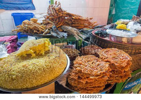 Dried seafood of all kind at the local market in Rangoon Myanmar.