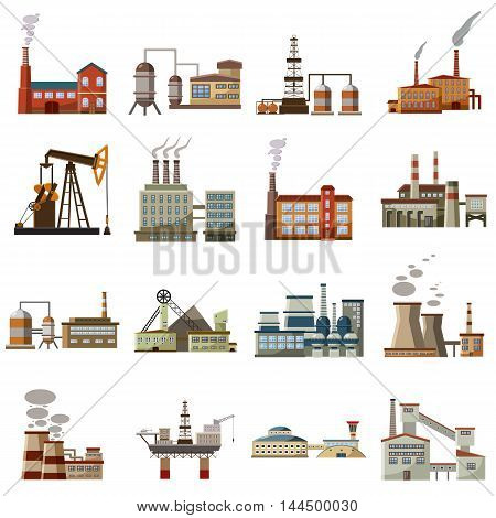 Factory icons set in cartoon style. Industrial building set collection vector illustration