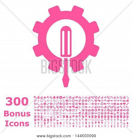 Engineering icon with 300 bonus icons. Vector illustration style is flat iconic symbols, pink color, white background.