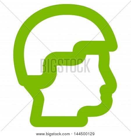 Sergeant Head vector icon. Style is contour flat icon symbol, eco green color, white background.