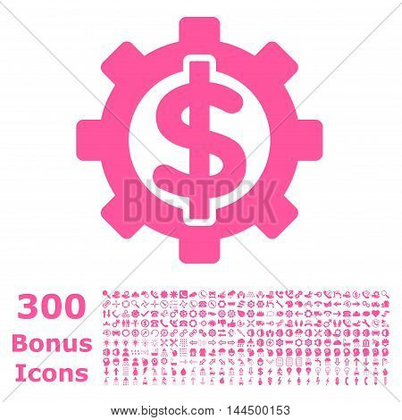Financial Options icon with 300 bonus icons. Vector illustration style is flat iconic symbols, pink color, white background.