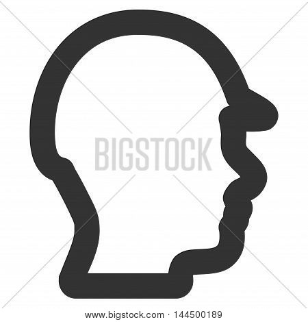 Builder Head vector icon. Style is contour flat icon symbol, gray color, white background.