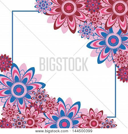 Frame of flowers. Abstract design layout with floral motifs. Vector