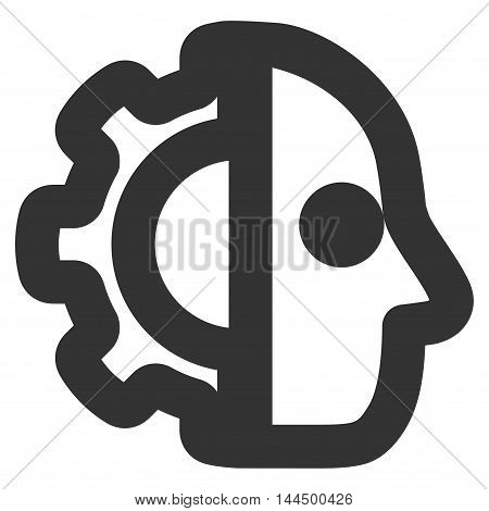 Cyborg vector icon. Style is linear flat icon symbol, gray color, white background.