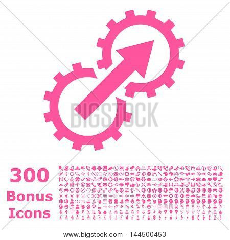 Gear Integration icon with 300 bonus icons. Vector illustration style is flat iconic symbols, pink color, white background.