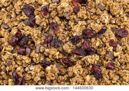 Healthy Granola Muesli Cereals With Fruit Background