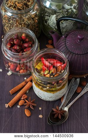 Healthy Breakfast Overnight Oats With Fruits