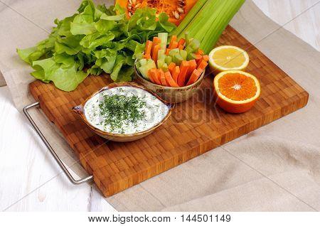 Greek Tzatziki Sauce And Vegetable Sticks