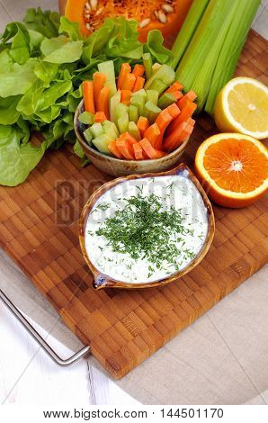 Greek Tzatziki Sauce And Vegetable Sticks