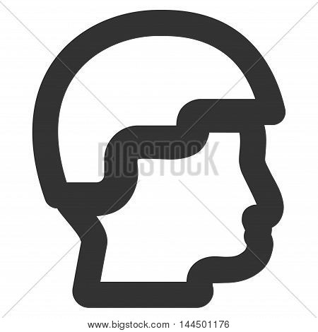 Sergeant Head vector icon. Style is outline flat icon symbol, gray color, white background.