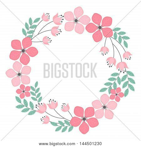Vector pastel pink and mint floral wreath