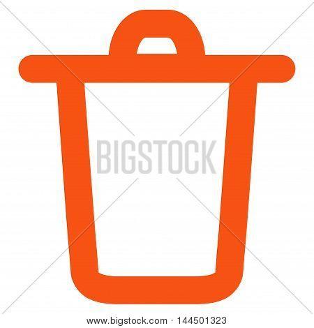 Bucket vector icon. Style is contour flat icon symbol, orange color, white background.