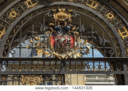 PARIS, FRANCE - MAY 13, 2015: This is coat of arms on the building Carnevale which is now the Museum of the History of Paris.
