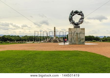OSLO, NORWAY - JULY 1, 2016: This is world-famous Vigeland sculpture park sculpture