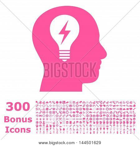 Head Bulb icon with 300 bonus icons. Vector illustration style is flat iconic symbols, pink color, white background.