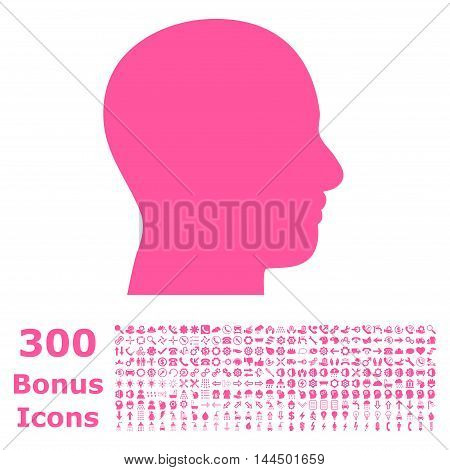 Head Profile icon with 300 bonus icons. Vector illustration style is flat iconic symbols, pink color, white background.