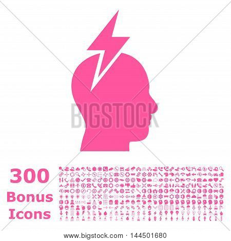 Headache icon with 300 bonus icons. Vector illustration style is flat iconic symbols, pink color, white background.