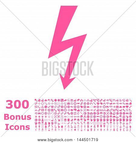 High Voltage icon with 300 bonus icons. Vector illustration style is flat iconic symbols, pink color, white background.