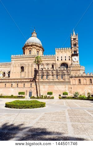 The huge cathedral of Palermo, Sicily, on a sunny day