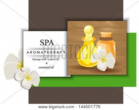 the concept of aromatherapy with image bottles with cosmetic oils and flowers