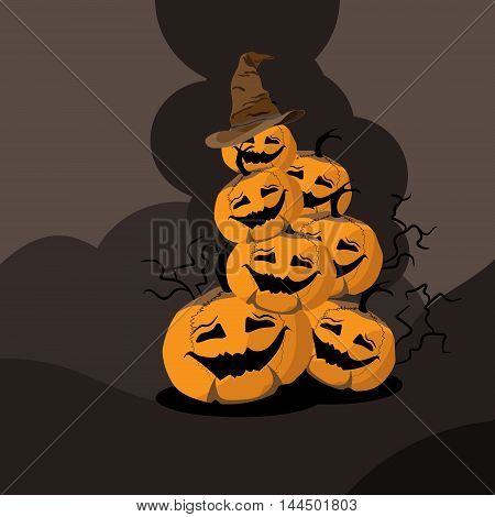 seven orange Halloween`s pumpkin stay in the pyramid on the brown background