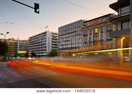 ATHENS, GREECE - AUGUST 25, 2016: Office buildings and shops in Syntagma square in Athens on August 25, 2016.