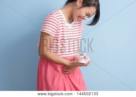 pregnant asian woman with labor pain