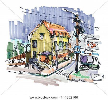 original pleinair marker painting of rural landscape in Irpin Kyiv region Ukraine, vector drawing on paper for book illustration or postcard