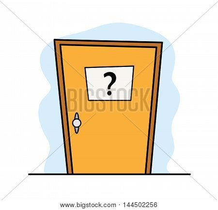 Door to the Unknown. A hand drawn vector illustration of a door that leads somewhere unknown.